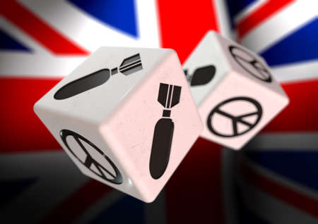 ceasefire: Dice with war and peace symbols on each side. Rolling dice with British flag in background. Concept for deciding to go to war or to choose peaceful alternatives.