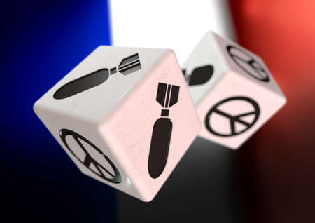 rolling dice: Dice with war and peace symbols on each side. Rolling dice with French flag in background. Concept for deciding to go to war or to choose peaceful alternatives. Stock Photo