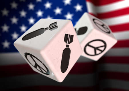 rolling dice: Dice with war and peace symbols on each side. Rolling dice with American flag in background. Concept for deciding to go to war or to choose peaceful alternatives.