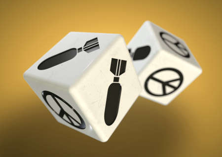 difficult decision: Dice with war and peace symbols on each side. Concept for making a difficult decision about whether to start a war or choose a peaceful resolution.