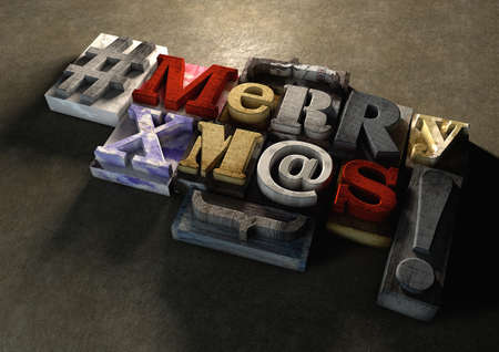 festive season: Merry Christmas Xmas title in vintage colorful wood block text. Social media hastag with grunge concrete background. Rough wooden blocks celebration of Christmas and the festive season on the 25th December