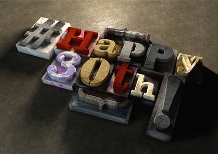 wood carving 3d: Ink splattered printing wood blocks with grungy Happy 30th birthday typography. Social media hashtag gives a modern edgy graphic design feel. Trendy happy birthday title, for use on birthday card. Stock Photo