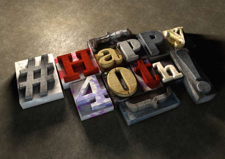 wood carving 3d: Ink splattered printing wood blocks with grungy Happy 40th birthday typography. Social media hashtag gives a modern edgy graphic design feel. Trendy happy birthday title, for use on birthday card.