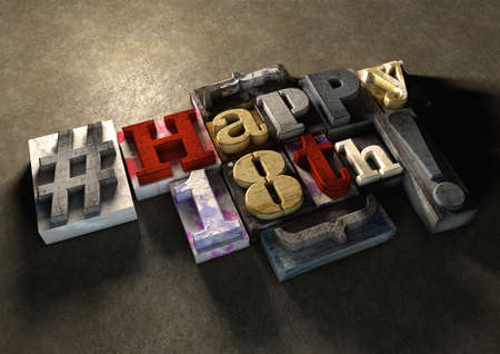 happy 18th: Ink splattered printing wood blocks with grungy Happy 18th birthday typography. Social media hashtag gives a modern edgy graphic design feel. Trendy happy birthday title, for use on birthday card.