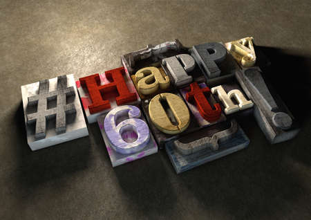 60th: Ink splattered printing wood blocks with grungy Happy 60th birthday typography. Social media hashtag gives a modern edgy graphic design feel. Trendy happy birthday title, for use on birthday card.