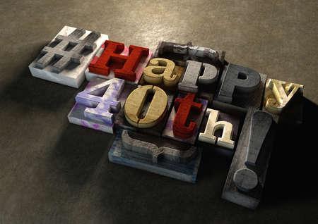 지저분한와 잉크 산산조각이 나는 인쇄 나무 블록 행복 한 40 생일 조판입니다. 소셜 미디어 해시 태그는 현대적인 초초 그래픽 디자인을 제공합니다.