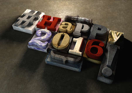 january 1: Happy 2016 New Year title in vintage colorful wood block text. Social media hashtag with grunge concrete background. Rough wooden blocks celebration of 2016 New year and the festive season on 1 January