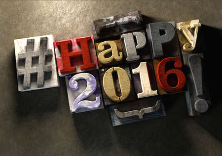 new year: Happy 2016 New Year title in vintage colorful wood block text. Social media hashtag with grunge concrete background. Rough wooden blocks celebration of 2016 New year and the festive season on 1 January