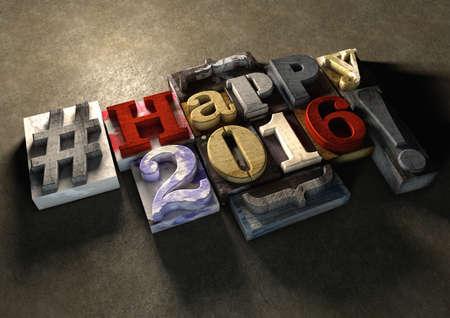 빈티지 다채로운 나무 블록 텍스트에서 행복 2016 신년 타이틀. 그런 지 구체적인 배경 가진 소셜 미디어 해시 태그입니다. 거친 나무 블록 2016 신년 축
