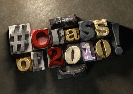 school friends: Class Reunion 2010 title on wooden ink splattered printing blocks. Grungy typography on a concrete background. Education themed title for reuniting old school friends and class mates Stock Photo