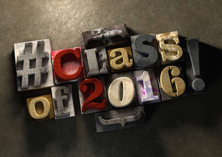 mates: Class Reunion 2016 title on wooden ink splattered printing blocks. Grungy typography on a concrete background. Education themed title for reuniting old school friends and class mates