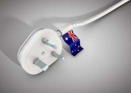 전원 케이블 및 호주 국기가 연결 된 플러그. 호주의 전력 사용 개념