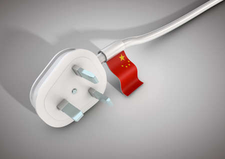 Electrical power cable and plug with China country flag attached. Concept for electrical power usage in China Stock Photo