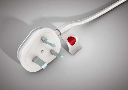 Electrical power cable and plug with Japan country flag attached. Concept for electrical power usage in Japan