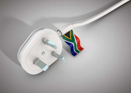 usage: Electrical power cable and plug with South African country flag attached. Concept for electrical power usage in ZAR country Stock Photo