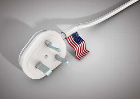전기 전원 케이블 및 플러그 미국 미국 국기와 함께. 미국 국가의 전력 사용 개념 스톡 콘텐츠