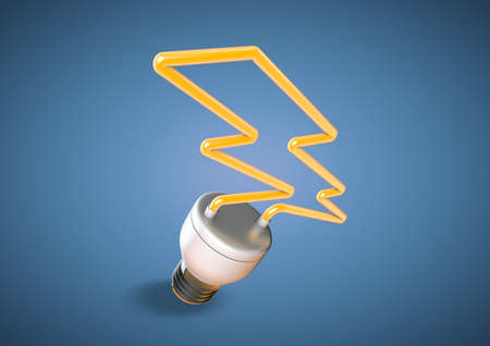 lightening: An energy saver light bulb forms shape of lightening bolt. Saving electricity and creating a green planet that is aware of power cunsumption.