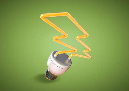 에너지 절약 전구는 번개가 가벼운 볼트 모양을 이룹니다. 전력을 절약하고 전원 cunsumption을 인식하는 녹색 행성을 만듭니다.