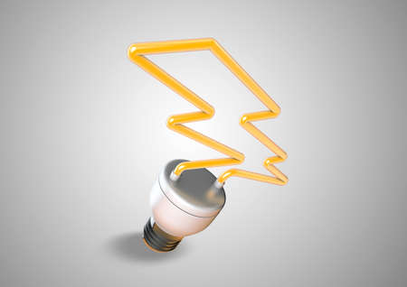 power failure: An energy saver light bulb forms shape of lightening bolt. Saving electricity and creating a green planet that is aware of power cunsumption.