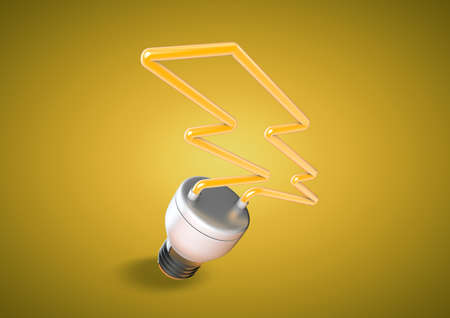 saving electricity: An energy saver light bulb forms shape of lightening bolt. Saving electricity and creating a green planet that is aware of power cunsumption.