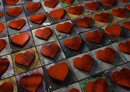 Valentine hearts made from red wood on multi-colored painted splattered and grunge textured blocks. Stock Photo