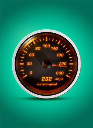 격리 된 속도계 녹색 배경에 시간 232 킬로미터의 현재 속도를 보여줍니다. 제한 속도 위반, 빠른 운전 또는 자동차 경주에 대 한 개념. 스톡 콘텐츠