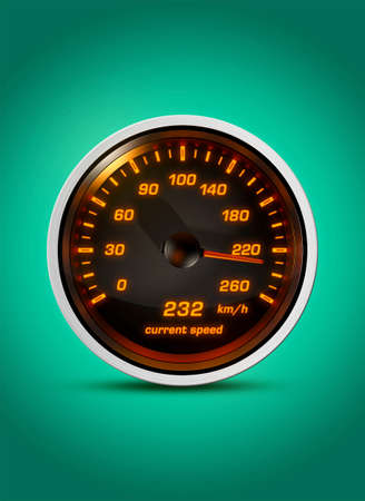 Isolated speedometer shows current speed of 232 kilometers an hour on a green background. Concept for breaking the speed limit, driving fast or racing a car.