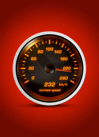 Isolated speedometer shows current speed of 232 kilometers an hour on a red background. Concept for breaking the speed limit, driving fast or racing a car. Stock Photo
