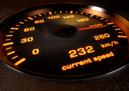 inset: Car speedometer with bright orange illuminated dials inset in dark leather with depth of field. Image showing car speedometer needle at 232 kilometers an hour.