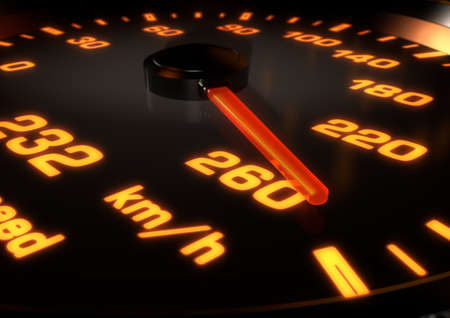 rev: 3D Illustration of a Car speedometer with needle up at 260km per hour. Bright orange lights and dials with depth of field. Stock Photo