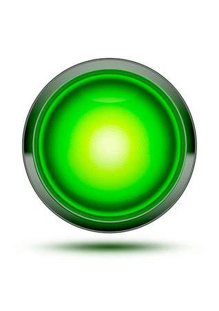 녹색 트래픽 중지 빛 화이트 섀도와 격리. 시작, 시작 또는 시작에 대한 개념 - 허가, 진행, 녹색 표시 등 - 모든 시스템이 작동합니다! 스톡 콘텐츠
