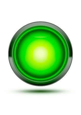 permission: Green traffic stop light glowing isolated on white with shadow. Concept for starting, going or beginning - permission, go-ahead, green light - all systems go! Stock Photo