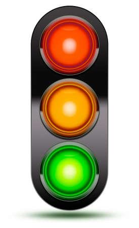 교통 신호등 차량 교차로 또는 순서대로 화이트 절연도 횡단에서 발견으로 빨간색, 주황색, 검은 색 슈 라우와 녹색. 트래픽 신호 빛 그림자와 함께입 스톡 콘텐츠