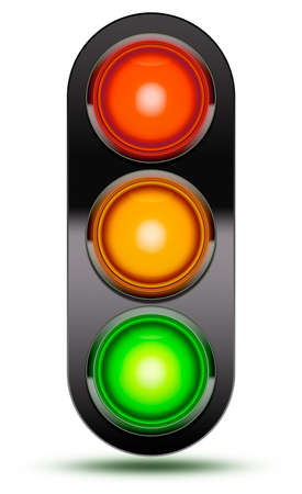 Traffic lights as found at vehicle intersections or road crossings isolated on white in sequence red, orange, green with black shroud. Traffic signal light with drop shadow.