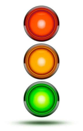 교통 신호등 차량 교차로 또는 순서대로 화이트 절연 빨강, 오렌지, 녹색에서 발견 된대로. 트래픽 신호 빛 그림자와 함께입니다. 스톡 콘텐츠