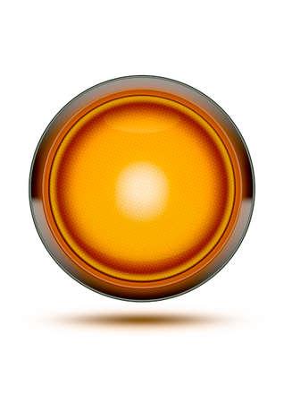 오렌지 신호등 빛나는 화이트와 그림자에 격리. 조심하거나, 위험하거나 돌봐주는 개념.