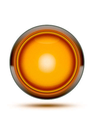 grren: Orange traffic light glowing isolated on white and shadow. Concept for be careful, danger or take care. Stock Photo