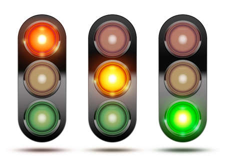 grren: Collection of traffic lights showing the sequence of how the lights glow from red, orange and green. Isolated on white with shadow.