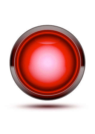 be careful: Red traffic stop light glowing isolated on white with shadow. Concept for stopping, halt, danger, do not go, be careful Stock Photo