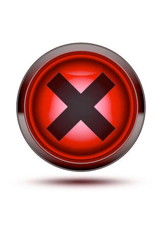 Bright red light button icon with chrome outer ring and black cross. Textured glass isolated on white with drop shadow. Wrong, danger, no entry! Stock Photo