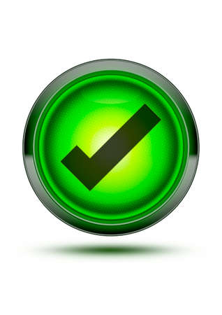 Bright green light button icon with chrome outer ring and black tick Textured glass isolated on white with drop shadow. right, correct, safe