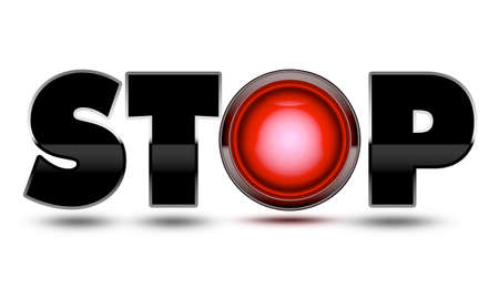Bright red traffic light used to make the text word Stop! Concept for warning, danger, stopping, halting and ending your journey!