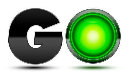go forward: Bright green traffic light used to make the word go! Concept for starting, going, moving forward and beginning your journey!