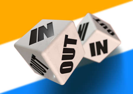 In or Out vote on dice for concept of Netherlands leaving the European Union with Netherlands flag in the background. Concept for citizens voting for independence and exiting the EU. Nexit. Stock Photo