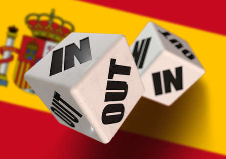 In or Out vote on dice for concept of Spain leaving the European Union with Spanish flag in the background. Concept for citizens voting for independence and exiting the EU. Spexit.