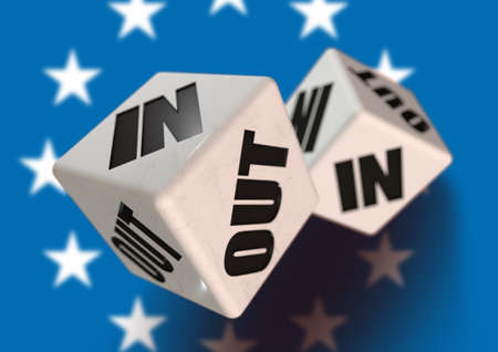 yes or no to euro: In or Out vote on dice for countries leaving the European Union with flag in the background. Concept for citizens voting for independence and exiting the EU.