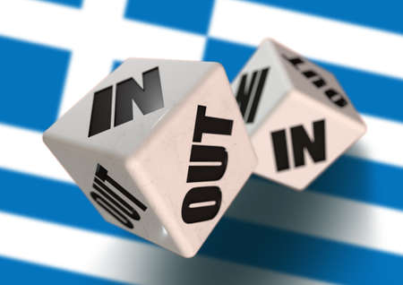 yes or no to euro: In or Out vote on dice for concept of Greece leaving the European Union with Greece flag in the background. Concept for citizens voting for independence and exiting the EU. Grexit.