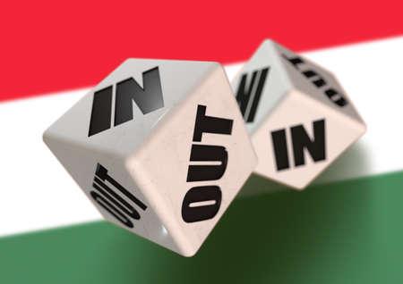 헝가리 깃발을 배경으로 헝가리를 떠나는 헝가리의 개념에 대한 주사위에 대한 찬성 또는 반대 투표. 독립을 투표하고 EU를 탈퇴하는 시민을위한 개념.