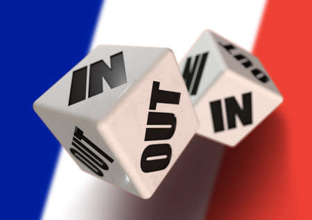 In or Out vote on dice for concept of France leaving the European Union with French flag in the background. Concept for citizens voting for independence and exiting the EU. Frexit
