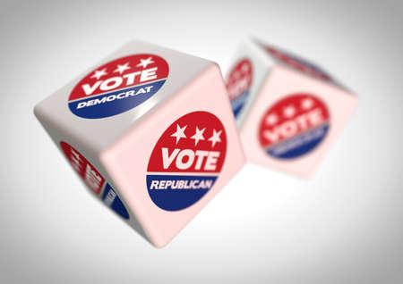 얼굴에 투표 공화당과 투표 민주당 아이콘 주사위 주사의 그림. 다음 미국 대통령 선거에서 투표를 예측하는 개념. 극적인 카메라 각도 필드의 강력한